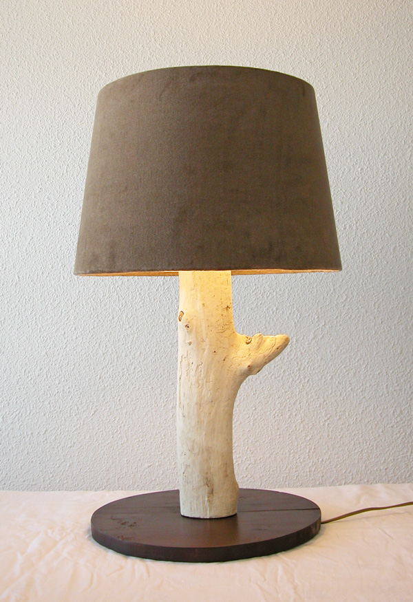 Caract re naturel grande lampe en bois flott - Lampe de chevet bois ...
