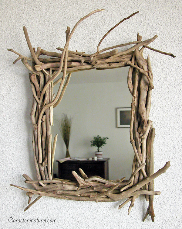 Caract re naturel miroir en bois flott for Idee deco en bois flotte