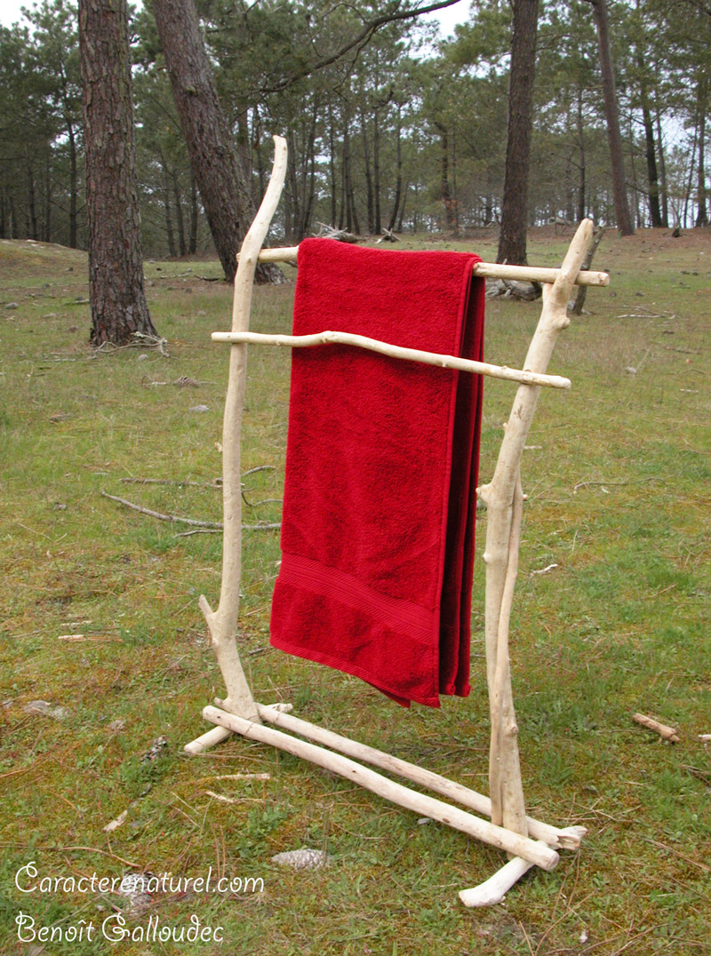 Porte serviettes en bois flott caract re naturel par for Porte serviette en bois